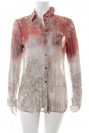 Bonita Transparenz-Bluse graubraun-dunkelrot Allover-Druck extravaganter Stil