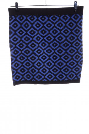 Knitted Skirt blue-black abstract pattern casual look