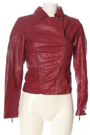 bonobo jeans Veste en cuir synthétique rose lettrage brodé style décontracté
