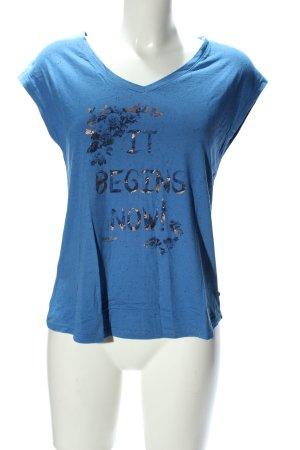bonobo jeans T-shirt bleu-doré imprimé avec thème style décontracté