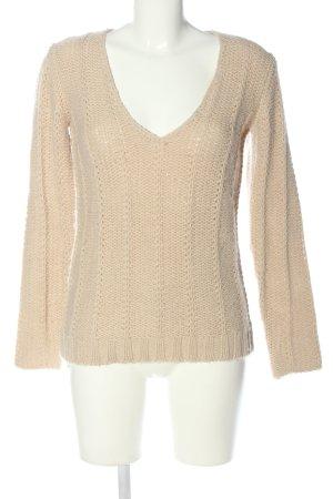 Bonpoint Sweter z dekoltem w kształcie litery V kremowy Warkoczowy wzór