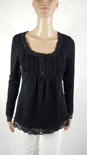 Bonprix Damen Langarmshirt mit Spitze Longsleeve schwarz Größe XS