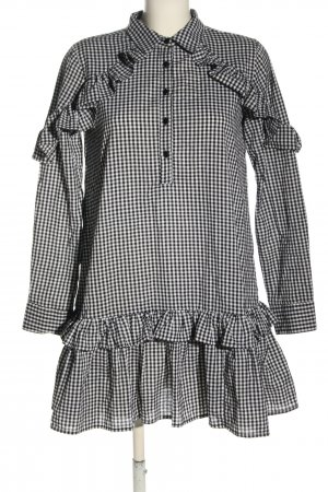 Boohoo Blouse Dress white-black check pattern casual look