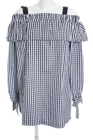 Boohoo Blusenkleid schwarz-weiß Karomuster extravaganter Stil