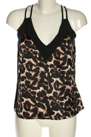 Boohoo Blusentop creme-schwarz Animalmuster Party-Look