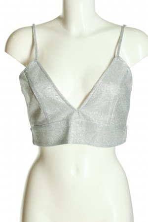 Boohoo Bustier Top silver-colored wet-look