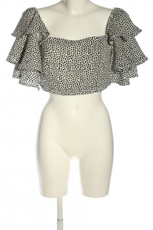 Boohoo Carmen-Bluse weiß-schwarz Allover-Druck Elegant