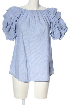 Boohoo Carmen-Bluse blau-weiß Streifenmuster Casual-Look
