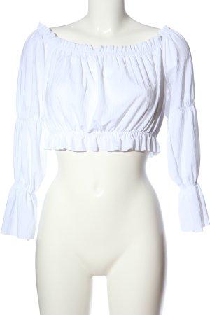 Boohoo Top épaules dénudées blanc style décontracté