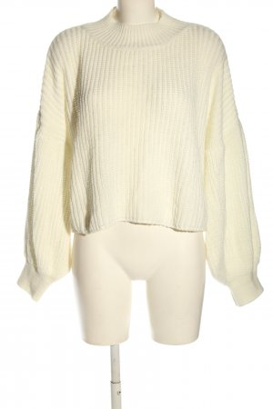 Boohoo Cropped Pullover wollweiß Zopfmuster Elegant