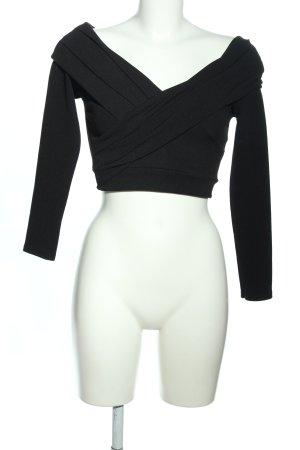 Boohoo Cropped shirt zwart casual uitstraling