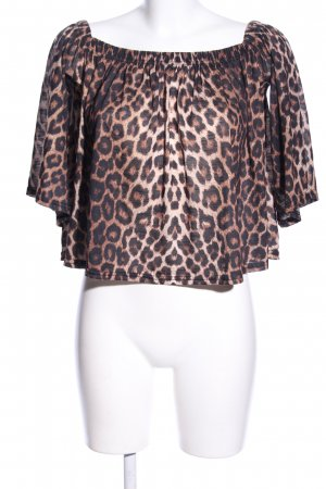Boohoo Cropped Shirt braun Allover-Druck Casual-Look