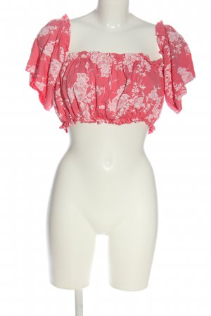 Boohoo Cropped Shirt pink-wollweiß Blumenmuster Casual-Look
