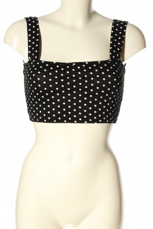 Boohoo Cut Out Top black-white spot pattern casual look