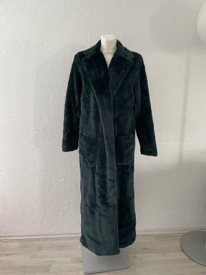 Boohoo Fake Fur Coat dark green
