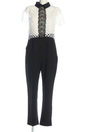 Boohoo Jumpsuit schwarz-weiß Business-Look