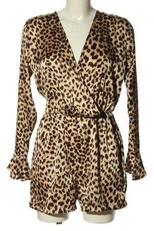 Boohoo Jumpsuit brown-natural white animal pattern casual look