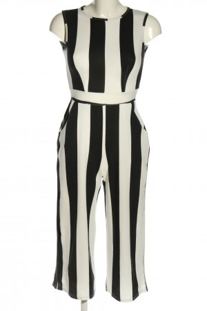 Boohoo Jumpsuit schwarz-weiß Streifenmuster Business-Look