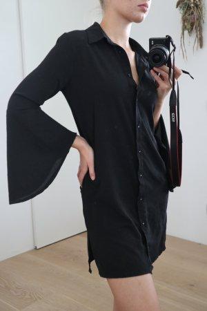 Boohoo Kleid Blusenkleid Hemdkleid Schlitz Schwarz 34/36 XS/S NEU