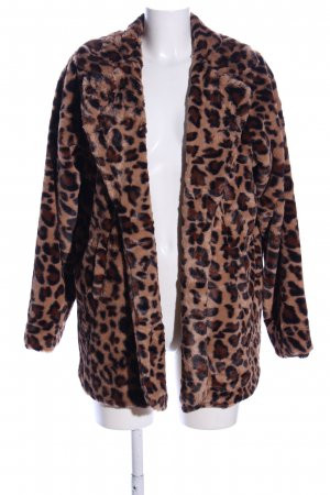 Boohoo Fake Fur Jacket brown-black allover print casual look