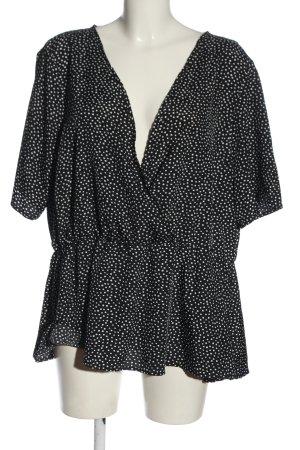 Boohoo Kurzarm-Bluse schwarz-weiß Allover-Druck Casual-Look