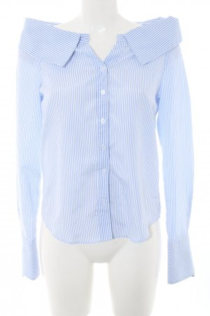 Boohoo Long Sleeve Blouse blue-white striped pattern casual look