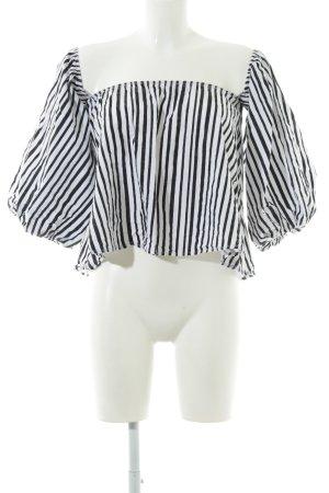 Boohoo Langarm-Bluse schwarz-weiß Streifenmuster schlichter Stil