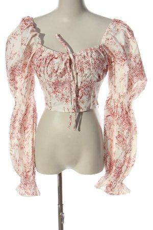 Boohoo Camicetta a maniche lunghe bianco-rosso stampa integrale elegante