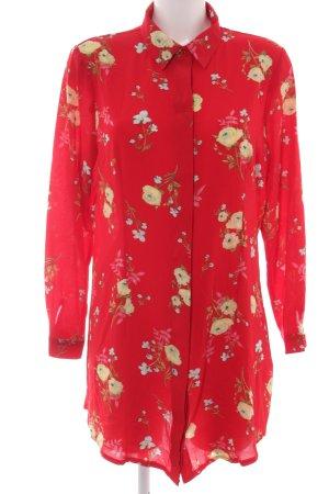 Boohoo Long-Bluse rot-blassgelb abstraktes Muster Casual-Look