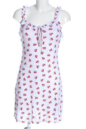 Boohoo Minikleid weiß-rot abstraktes Muster Casual-Look