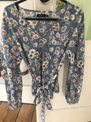 Boohoo neue Bluse Shirt blau geblümt Blumen