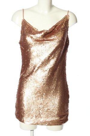Boohoo night Cekinowa sukienka brąz Ekstrawagancki styl