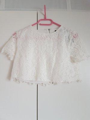 Boohoo Top en maille crochet blanc