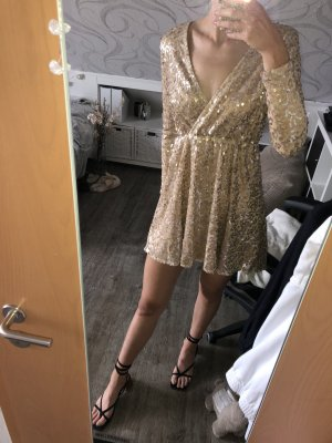 Boohoo Sequin Dress gold-colored polyester