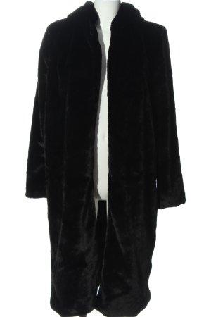 Boohoo Manteau de fourrure noir style décontracté