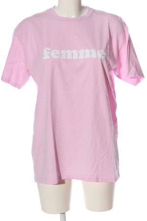 Boohoo Camicia fantasia rosa-bianco caratteri stampati stile casual