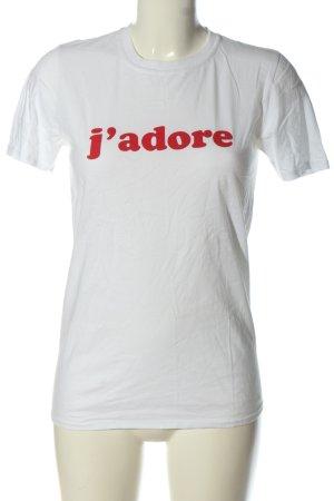 Boohoo Print-Shirt weiß Schriftzug gedruckt Casual-Look