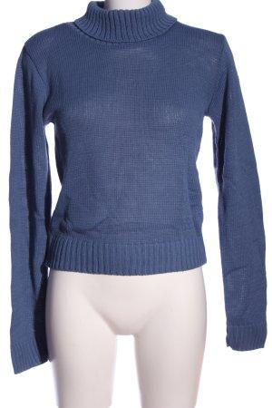 Boohoo Rollkragenpullover blau Casual-Look