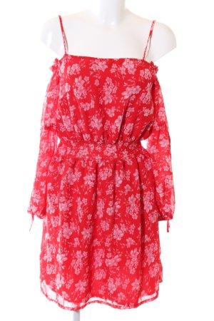 Boohoo schulterfreies Kleid rot-pink Allover-Druck Casual-Look