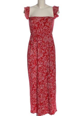 Boohoo Sommerkleid rot-weiß Allover-Druck Casual-Look