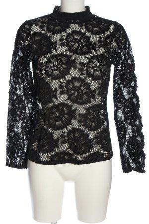 Boohoo Blusa de encaje negro Patrón de tejido look casual