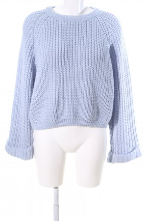 Boohoo Strickpullover blau Zopfmuster Business-Look