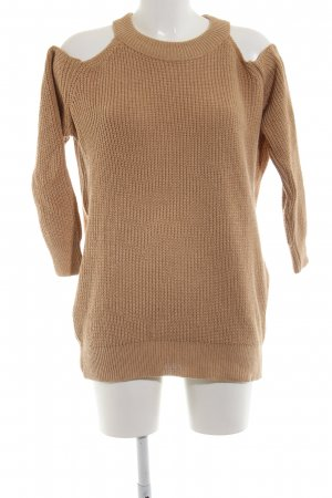 Boohoo Knitted Sweater brown cable stitch casual look