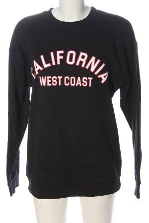 Boohoo Sweatshirt zwart gedrukte letters casual uitstraling