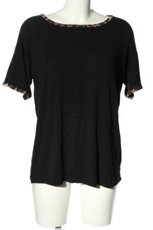 Boohoo T-Shirt schwarz-braun Leomuster Casual-Look