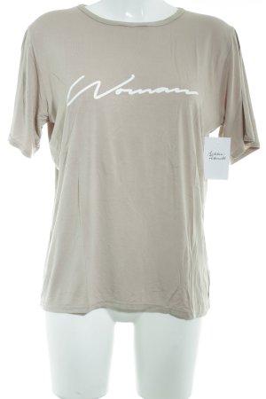 Boohoo T-Shirt beige-weiß Schriftzug gedruckt Casual-Look