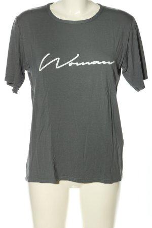 Boohoo T-Shirt hellgrau Schriftzug gedruckt Casual-Look