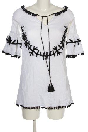 Boohoo Tunikabluse weiß-schwarz Casual-Look