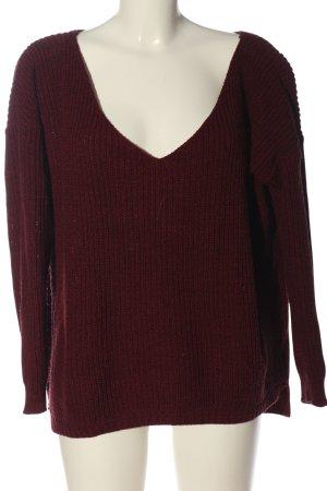 Boohoo V-Ausschnitt-Pullover braun Casual-Look