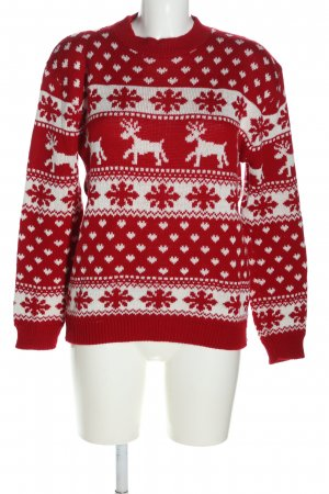 Boohoo Christmasjumper red-white graphic pattern casual look